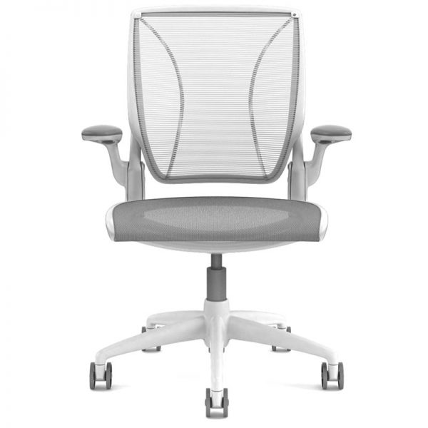 humanscale diffrient world chair in white frame