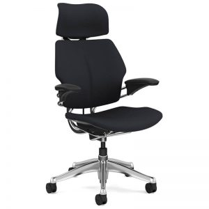 Humanscale freedom chair with headrest in black fabric and polished aluminum frame