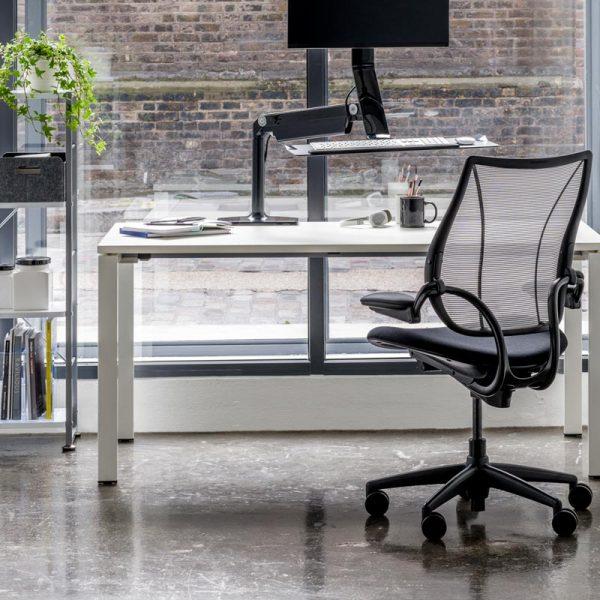 "humanscale liberty task chair 4  <ul> <li><span style=""color: #ff0000;"">=- available to try at our showroom-=</span></li> <li>multiple frame colors</li> <li>multiple textile, vinyl, and leather options</li> <li>multiple mesh color options</li> </ul>"