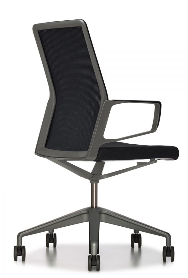 11244aesyncblack lowres <ul> <li>available armless or with arms (with or without armcaps)</li> <li>aluminum, nylon, or jury base, and a work stool height option</li> <li>aluminum frames and bases are available polished or powder-coated in four colors: black, dark grey, warm grey, and white</li> <li>nylon bases, mesh carriers, and arm caps are vailable in black, dark grey, and warm grey</li> </ul>
