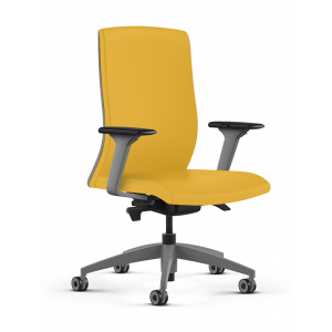 9to5 Seating task chair in yellow fabric and grey frame