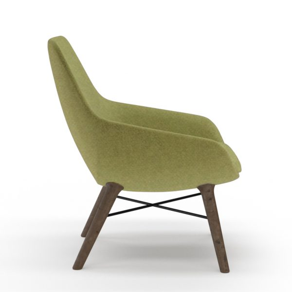 9to5seating lilly lounge walnut green side