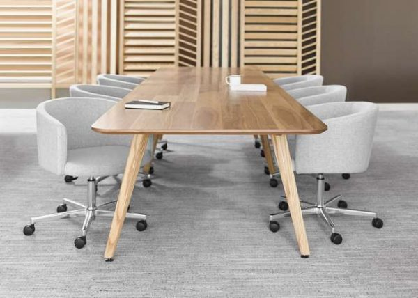 ofs elevenables cafe dining alan desk 1 <ul> <li>available as a community, meeting, and conference table</li> <li>materials: wood veneer, laminate, and solid surface tops</li> </ul>