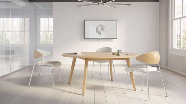 ofs elevenables cafe dining alan desk 10 <ul> <li>available as a community, meeting, and conference table</li> <li>materials: wood veneer, laminate, and solid surface tops</li> </ul>