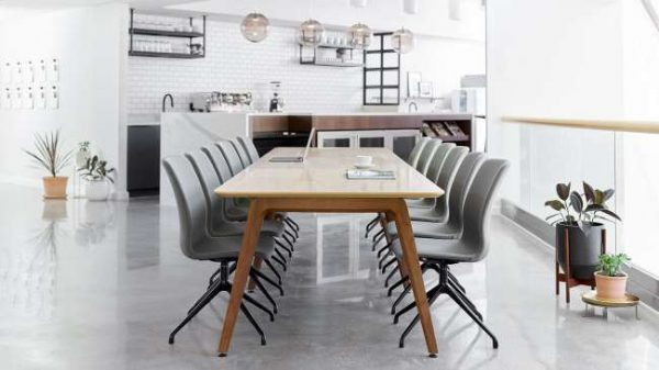 ofs elevenables cafe dining alan desk 14 <ul> <li>available as a community, meeting, and conference table</li> <li>materials: wood veneer, laminate, and solid surface tops</li> </ul>