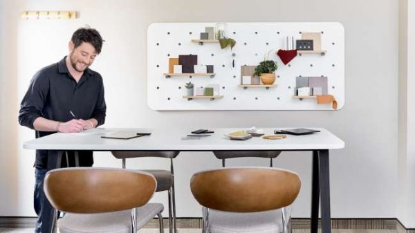 ofs elevenables cafe dining alan desk 15 <ul> <li>available as a community, meeting, and conference table</li> <li>materials: wood veneer, laminate, and solid surface tops</li> </ul>