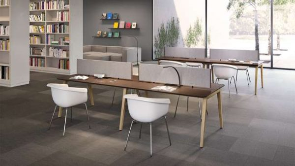 ofs elevenables cafe dining alan desk 6 <ul> <li>available as a community, meeting, and conference table</li> <li>materials: wood veneer, laminate, and solid surface tops</li> </ul>