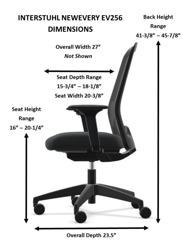 everyis1 task chair dimensions