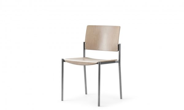 Cache chair is a staking chair shown in maple wood