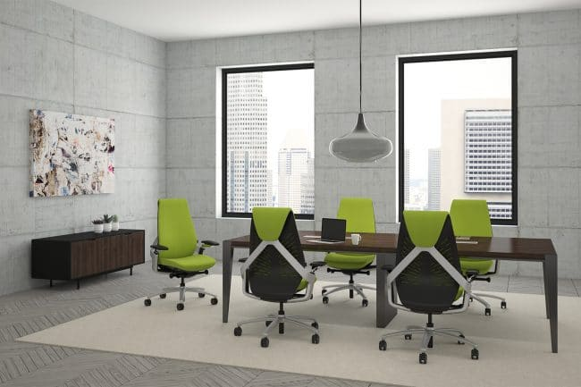 Sol Task chair 9to5 Seating in a conference room with green fabric