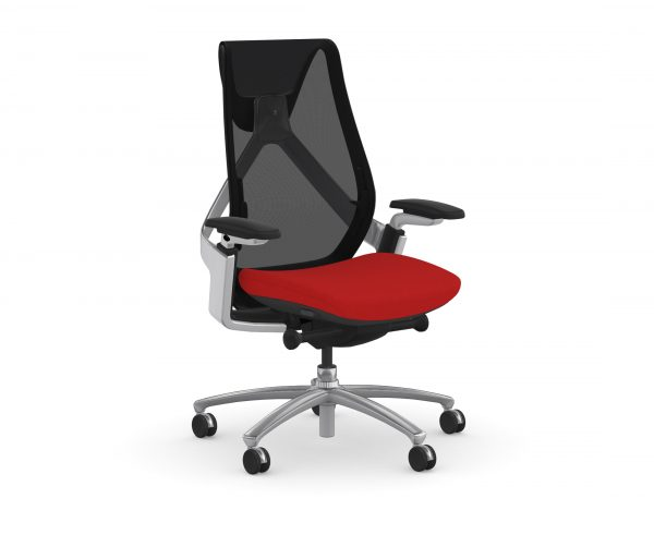9to5seating sol task chair black mesh with red fabric seat