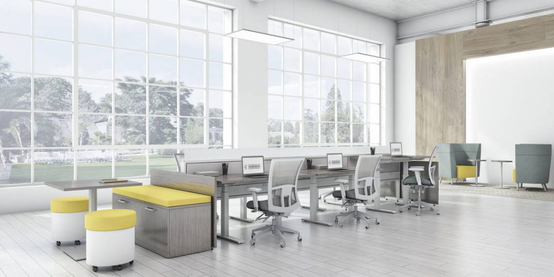 Global Total Office Evolve Power Beam Panel System Alan Desk