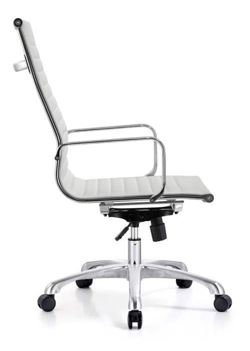classic hi back chair conference weoodstock alan desk 1  <ul> <li>available black, off-white, and gray</li> <li>eco leather seating surfaces</li> <li>high polished triple plated chrome frame</li> <li>hand polished aluminum base</li> <li>oversized 60mm casters</li> <li>adjustable tilt tension</li> <li>tilt lock</li> <li>pneumatic gas height adjustment</li> <li>generous dimensions</li> <li>rated for 250 pounds</li> <li>available with and without arms</li> </ul>