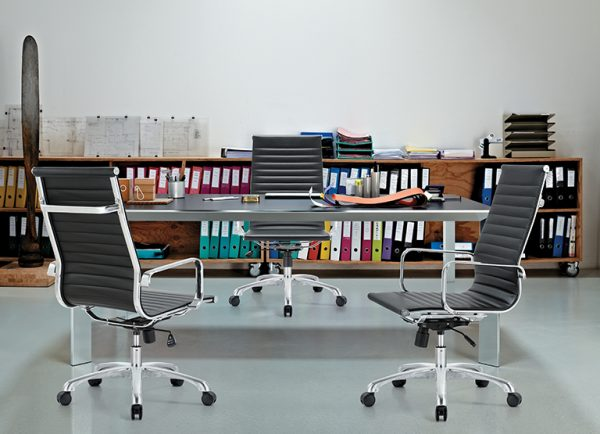 classic hi back chair conference weoodstock alan desk 2  <ul> <li>available black, off-white, and gray</li> <li>eco leather seating surfaces</li> <li>high polished triple plated chrome frame</li> <li>hand polished aluminum base</li> <li>oversized 60mm casters</li> <li>adjustable tilt tension</li> <li>tilt lock</li> <li>pneumatic gas height adjustment</li> <li>generous dimensions</li> <li>rated for 250 pounds</li> <li>available with and without arms</li> </ul>