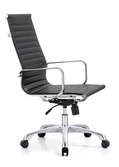 classic hi back chair conference weoodstock alan desk 3  <ul> <li>available black, off-white, and gray</li> <li>eco leather seating surfaces</li> <li>high polished triple plated chrome frame</li> <li>hand polished aluminum base</li> <li>oversized 60mm casters</li> <li>adjustable tilt tension</li> <li>tilt lock</li> <li>pneumatic gas height adjustment</li> <li>generous dimensions</li> <li>rated for 250 pounds</li> <li>available with and without arms</li> </ul>
