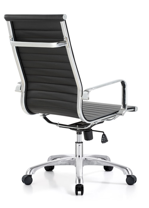classic hi back chair conference weoodstock alan desk 6  <ul> <li>available black, off-white, and gray</li> <li>eco leather seating surfaces</li> <li>high polished triple plated chrome frame</li> <li>hand polished aluminum base</li> <li>oversized 60mm casters</li> <li>adjustable tilt tension</li> <li>tilt lock</li> <li>pneumatic gas height adjustment</li> <li>generous dimensions</li> <li>rated for 250 pounds</li> <li>available with and without arms</li> </ul>