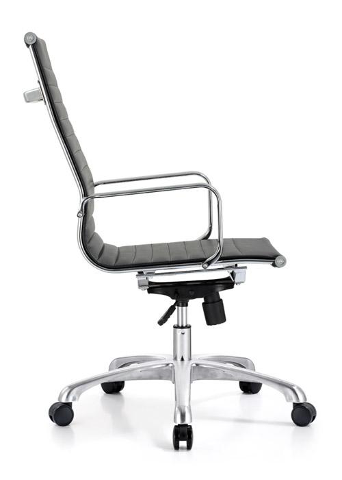 classic hi back chair conference weoodstock alan desk 7  <ul> <li>available black, off-white, and gray</li> <li>eco leather seating surfaces</li> <li>high polished triple plated chrome frame</li> <li>hand polished aluminum base</li> <li>oversized 60mm casters</li> <li>adjustable tilt tension</li> <li>tilt lock</li> <li>pneumatic gas height adjustment</li> <li>generous dimensions</li> <li>rated for 250 pounds</li> <li>available with and without arms</li> </ul>