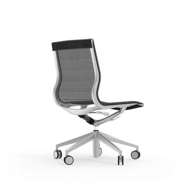 curva mid back armless chair idesk alan desk 1 the idesk curva mid-back armless conference chair has a frame made of cast aluminum and a durable seat and back mesh warranted up to 100,000 doublerubs. this conference chair has a pneumatic seat height adjustment as well as a side-mounted lock lever to offer a recline seating position. limited lifetime warranty and a weight capacity of 250lbs.