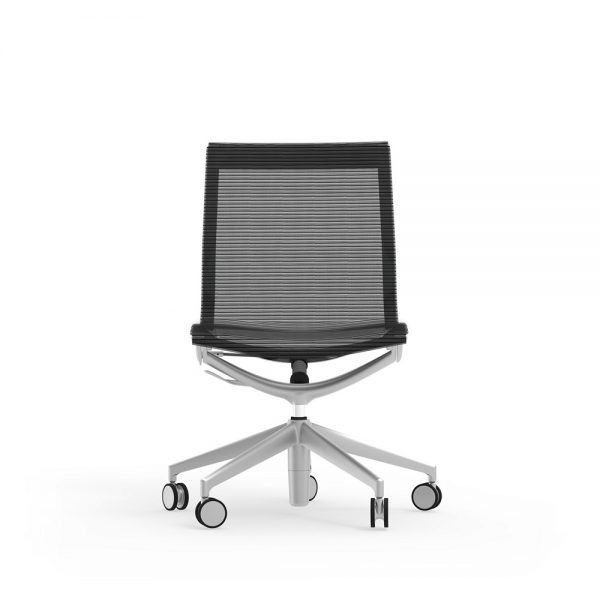 curva mid back armless chair idesk alan desk 3 the idesk curva mid-back armless conference chair has a frame made of cast aluminum and a durable seat and back mesh warranted up to 100,000 doublerubs. this conference chair has a pneumatic seat height adjustment as well as a side-mounted lock lever to offer a recline seating position. limited lifetime warranty and a weight capacity of 250lbs.