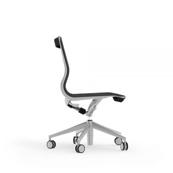 curva mid back armless chair idesk alan desk 4 the idesk curva mid-back armless conference chair has a frame made of cast aluminum and a durable seat and back mesh warranted up to 100,000 doublerubs. this conference chair has a pneumatic seat height adjustment as well as a side-mounted lock lever to offer a recline seating position. limited lifetime warranty and a weight capacity of 250lbs.