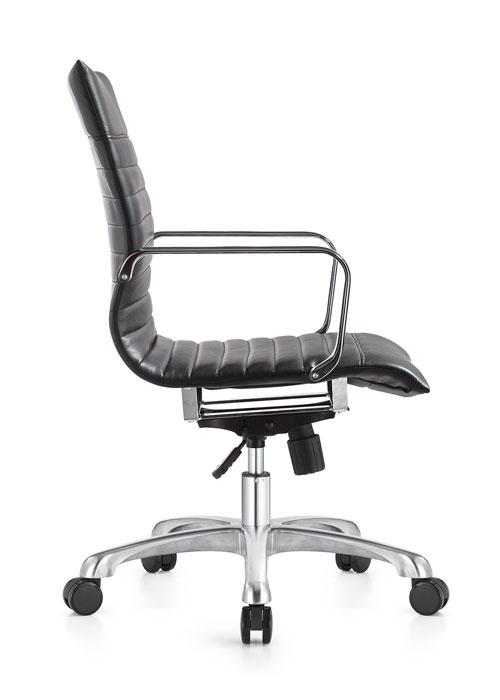 janice mid back conference chair woodstock alan desk 1 <ul> <li>eco leather seating surfaces</li> <li>steel inner frame with web internal seat and back suspension</li> <li>waterfall seat shape</li> <li>hand polished aluminum base and arms</li> <li>oversized 60mm dual wheel carpet casters standard. hard floor casters or glides optional.</li> <li>adjustable tilt tension</li> <li>tilt lock</li> <li>pneumatic gas height adjustment</li> <li>generous dimensions</li> <li>rated for 300 pounds</li> </ul>