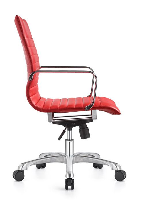 janice mid back conference chair woodstock alan desk 13 <ul> <li>eco leather seating surfaces</li> <li>steel inner frame with web internal seat and back suspension</li> <li>waterfall seat shape</li> <li>hand polished aluminum base and arms</li> <li>oversized 60mm dual wheel carpet casters standard. hard floor casters or glides optional.</li> <li>adjustable tilt tension</li> <li>tilt lock</li> <li>pneumatic gas height adjustment</li> <li>generous dimensions</li> <li>rated for 300 pounds</li> </ul>