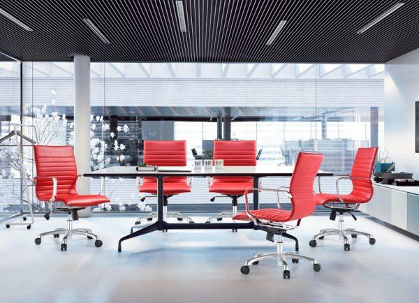 janice mid back conference chair woodstock alan desk 18 <ul> <li>eco leather seating surfaces</li> <li>steel inner frame with web internal seat and back suspension</li> <li>waterfall seat shape</li> <li>hand polished aluminum base and arms</li> <li>oversized 60mm dual wheel carpet casters standard. hard floor casters or glides optional.</li> <li>adjustable tilt tension</li> <li>tilt lock</li> <li>pneumatic gas height adjustment</li> <li>generous dimensions</li> <li>rated for 300 pounds</li> </ul>