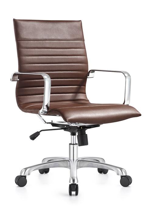 janice mid back conference chair woodstock alan desk 7 <ul> <li>eco leather seating surfaces</li> <li>steel inner frame with web internal seat and back suspension</li> <li>waterfall seat shape</li> <li>hand polished aluminum base and arms</li> <li>oversized 60mm dual wheel carpet casters standard. hard floor casters or glides optional.</li> <li>adjustable tilt tension</li> <li>tilt lock</li> <li>pneumatic gas height adjustment</li> <li>generous dimensions</li> <li>rated for 300 pounds</li> </ul>