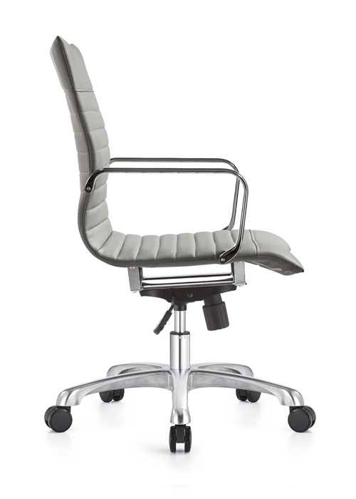 janice mid back conference chair woodstock alan desk 9 <ul> <li>eco leather seating surfaces</li> <li>steel inner frame with web internal seat and back suspension</li> <li>waterfall seat shape</li> <li>hand polished aluminum base and arms</li> <li>oversized 60mm dual wheel carpet casters standard. hard floor casters or glides optional.</li> <li>adjustable tilt tension</li> <li>tilt lock</li> <li>pneumatic gas height adjustment</li> <li>generous dimensions</li> <li>rated for 300 pounds</li> </ul>