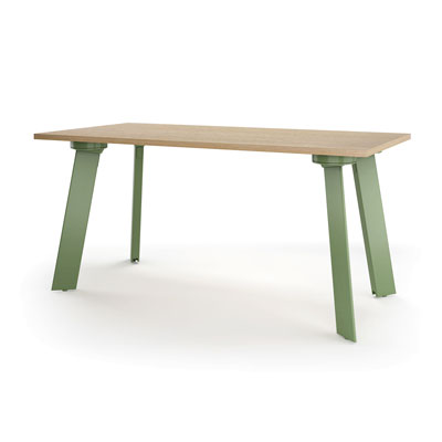 DARRAN Edgeworks desk with green metal legs and maple top