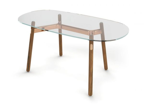 Darran Roki Home Office Desk with Glass top and wood legs