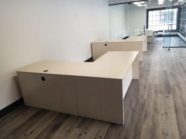Maverick Desk L Shape in Asian Sand Laminate