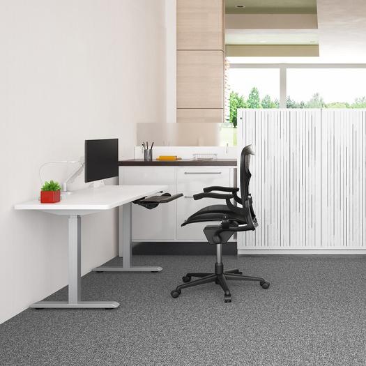 ESI Enmo standing desk silver base with white top