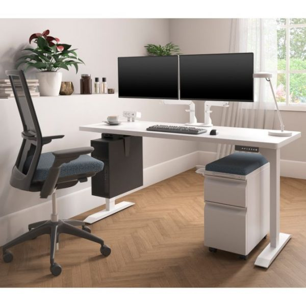 HAT Standing desk white frame with white top and mobile pedestal and monitor arm