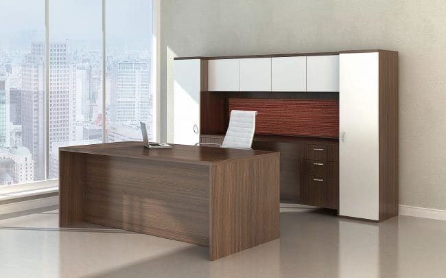 maverick series desk with credenza hutch and wardrobe storage on each side
