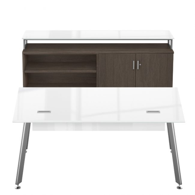 idesk sol collection table snowberry and veneer midnight ash credenza