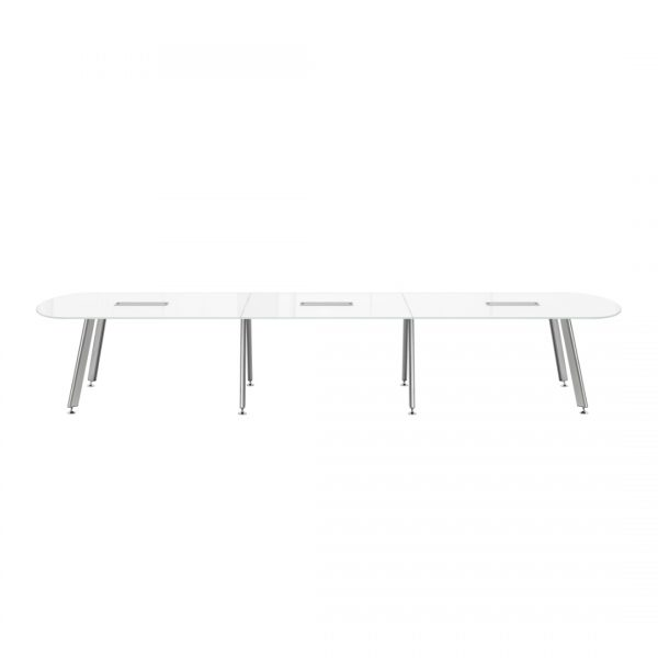 main idesk d series conference table with power modules and white back painted glass top
