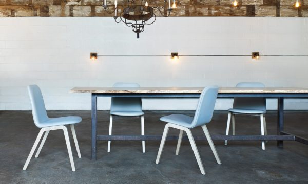 source international mojo chairs in blue around dining table