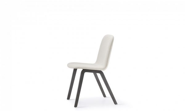 Mojo chair with dark legs and light fabric